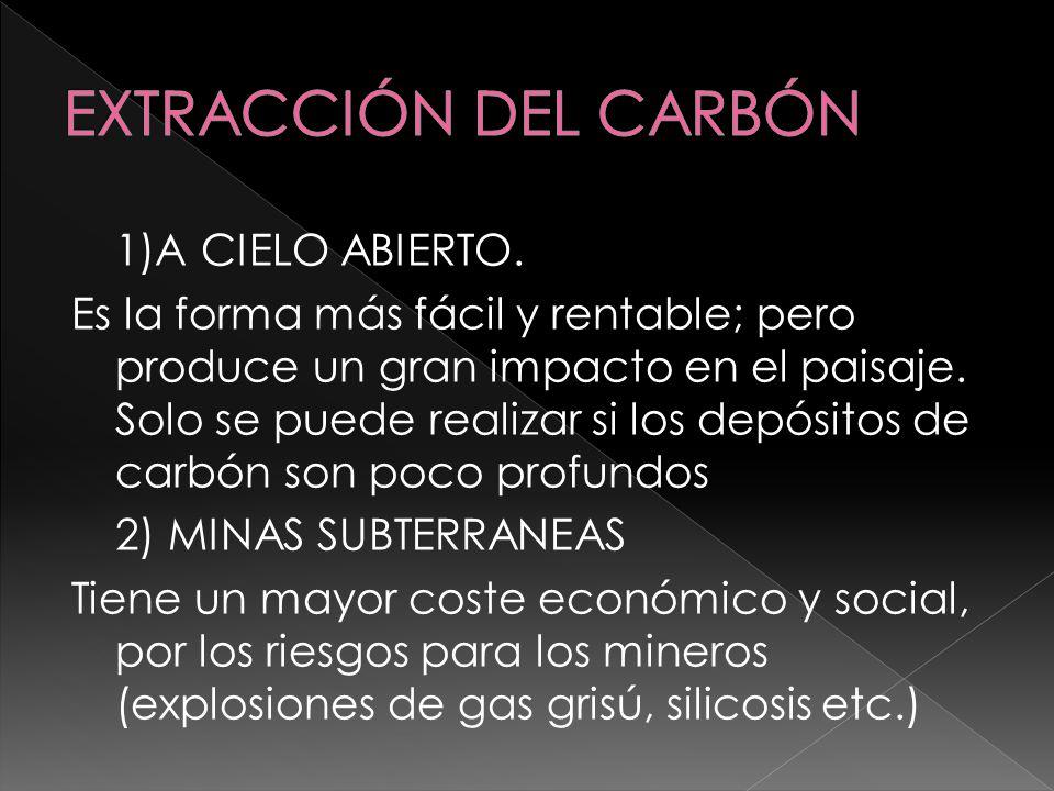 1)A CIELO ABIERTO. Es la forma más fácil y rentable; pero produce un gran impacto en el paisaje. Solo se puede realizar si los depósitos de carbón son
