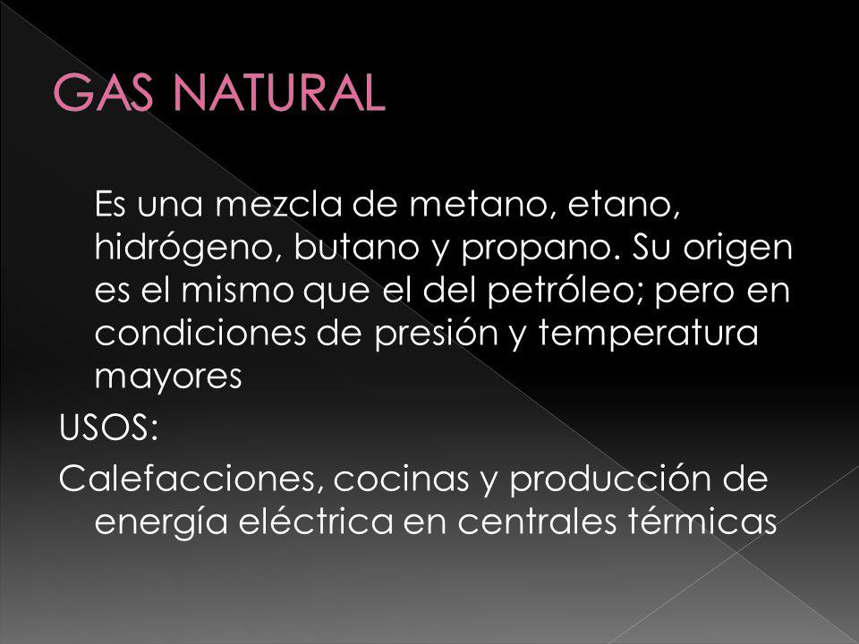 Es una mezcla de metano, etano, hidrógeno, butano y propano. Su origen es el mismo que el del petróleo; pero en condiciones de presión y temperatura m