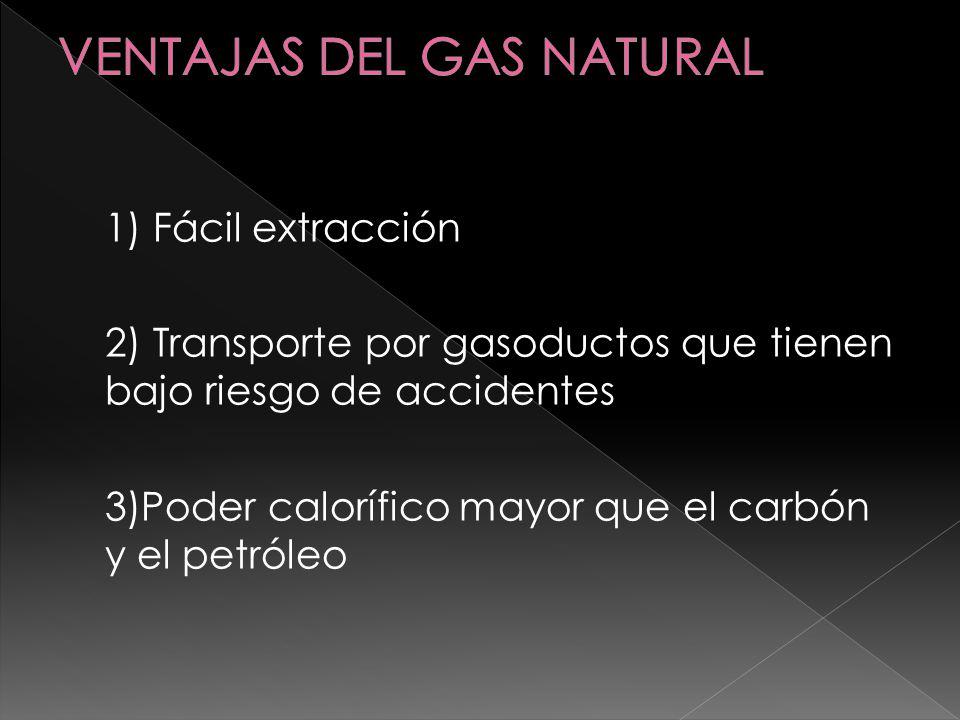 1) Fácil extracción 2) Transporte por gasoductos que tienen bajo riesgo de accidentes 3)Poder calorífico mayor que el carbón y el petróleo