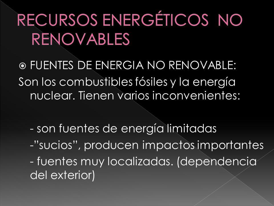 FUENTES DE ENERGÍA RENOVABLE: Biomasa, energía solar, eólica, hidráulica, geotérmica, mareomotriz y el hidrógeno.