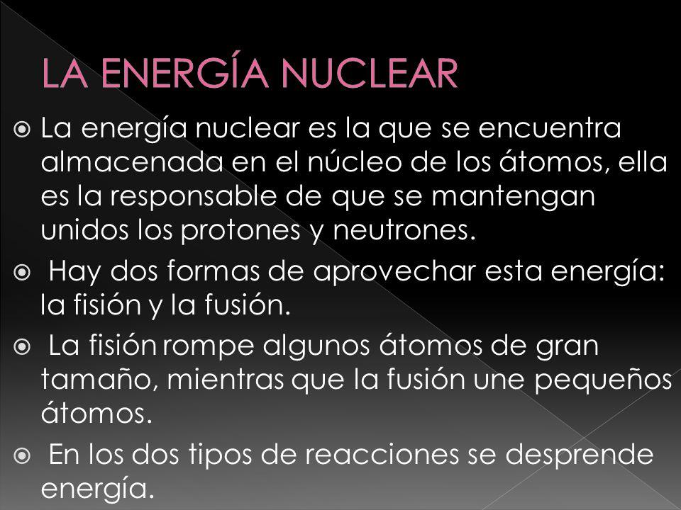 La energía nuclear es la que se encuentra almacenada en el núcleo de los átomos, ella es la responsable de que se mantengan unidos los protones y neut