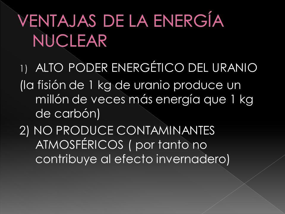 1) ALTO PODER ENERGÉTICO DEL URANIO (la fisión de 1 kg de uranio produce un millón de veces más energía que 1 kg de carbón) 2) NO PRODUCE CONTAMINANTE