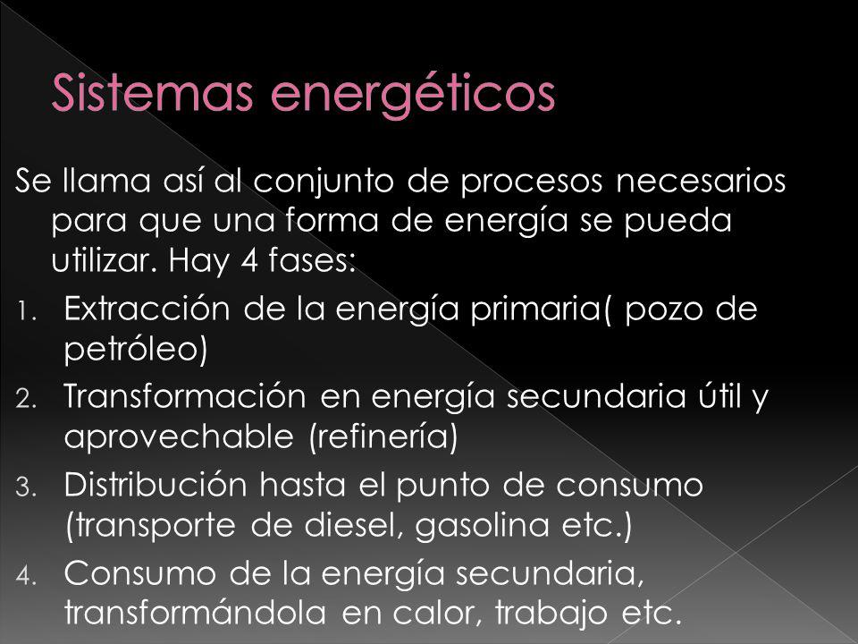 Se llama así al conjunto de procesos necesarios para que una forma de energía se pueda utilizar. Hay 4 fases: 1. Extracción de la energía primaria( po
