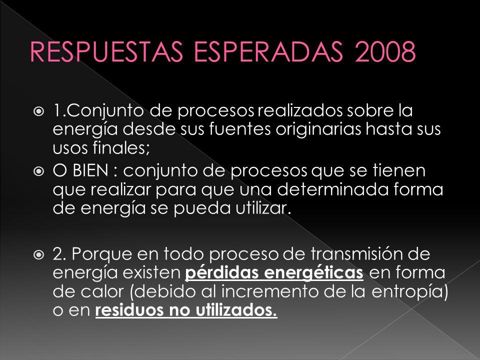1.Conjunto de procesos realizados sobre la energía desde sus fuentes originarias hasta sus usos finales; O BIEN : conjunto de procesos que se tienen q