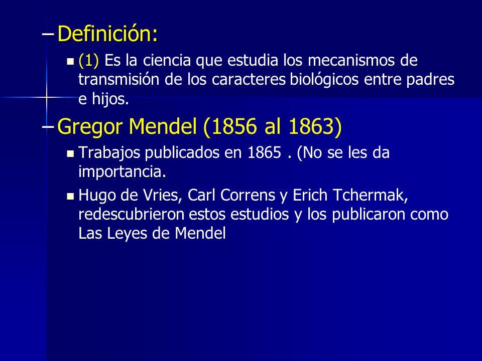 –Definición: (1) Es la ciencia que estudia los mecanismos de transmisión de los caracteres biológicos entre padres e hijos. – –Gregor Mendel (1856 al