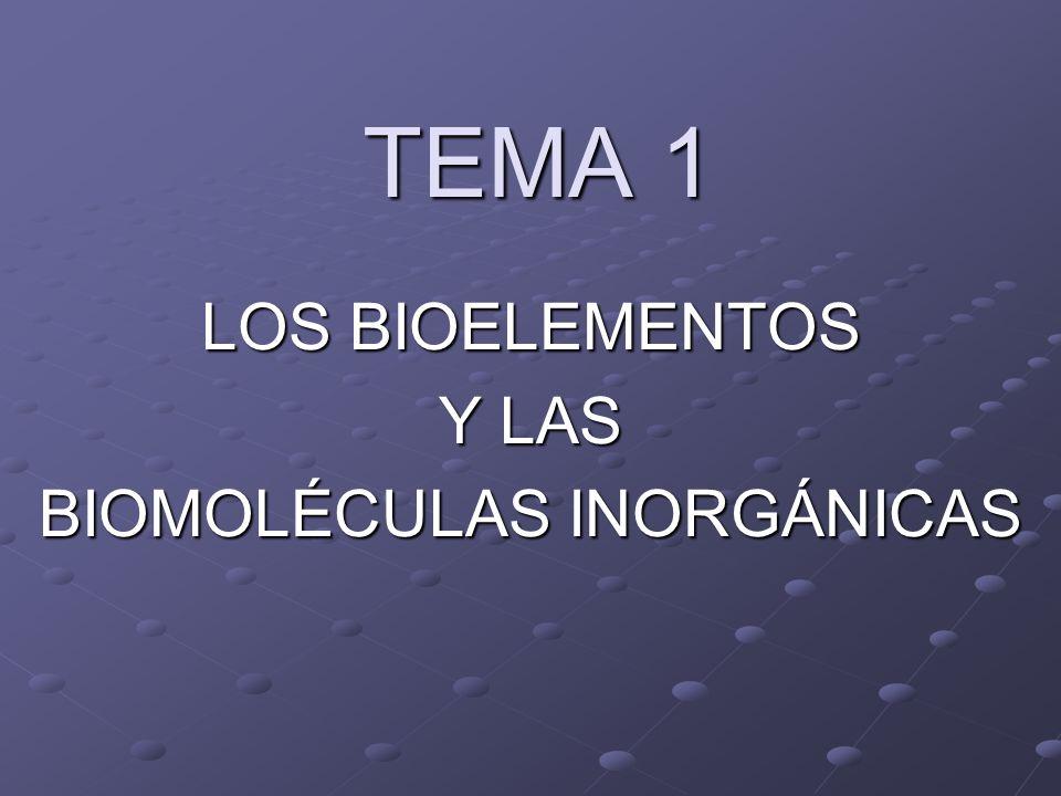 TEMA 1 LOS BIOELEMENTOS Y LAS BIOMOLÉCULAS INORGÁNICAS