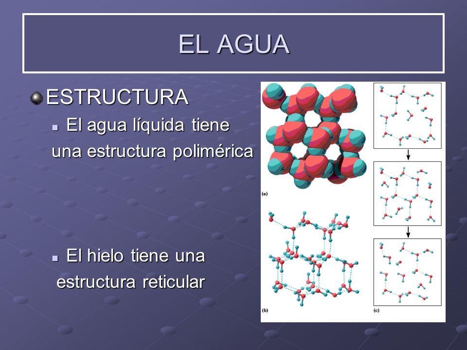 ESTRUCTURA El El agua líquida tiene una estructura polimérica hielo tiene una estructura reticular EL AGUA