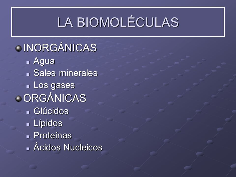 INORGÁNICAS Agua Agua Sales Sales minerales Los Los gases ORGÁNICAS Glúcidos Glúcidos Lípidos Lípidos Proteínas Proteínas Ácidos Ácidos Nucleicos LA B