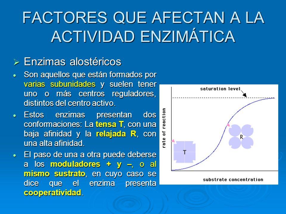 Enzimas alostéricos Son aquellos que están formados por varias subunidades y suelen tener uno o más centros reguladores, distintos del centro activo.