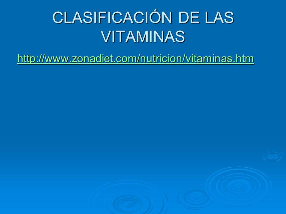 CLASIFICACIÓN DE LAS VITAMINAS http://www.zonadiet.com/nutricion/vitaminas.htm