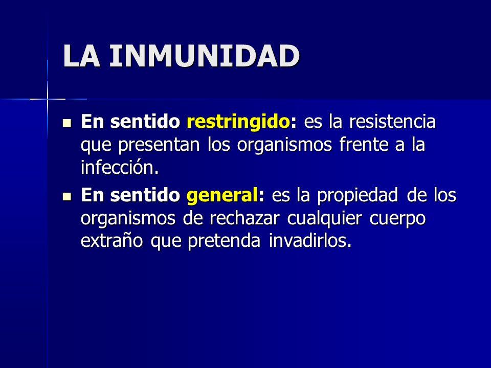 LA INMUNIDAD En sentido restringido: es la resistencia que presentan los organismos frente a la infección.