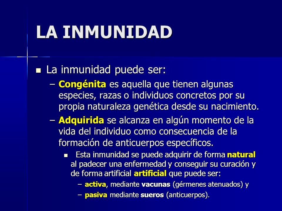 La inmunidad puede ser: La inmunidad puede ser: –Congénita es aquella que tienen algunas especies, razas o individuos concretos por su propia naturaleza genética desde su nacimiento.