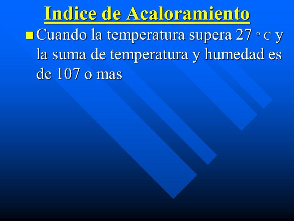 Indice de Acaloramiento Cuando la temperatura supera 27 ° C y la suma de temperatura y humedad es de 107 o mas Cuando la temperatura supera 27 ° C y l