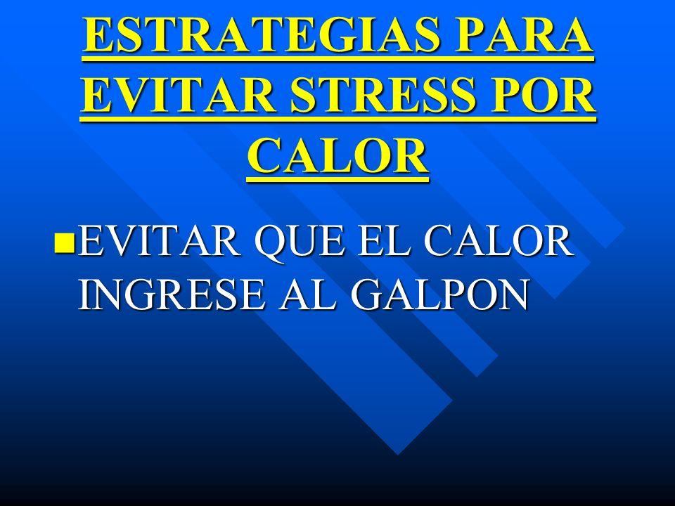 ESTRATEGIAS PARA EVITAR STRESS POR CALOR EVITAR QUE EL CALOR INGRESE AL GALPON EVITAR QUE EL CALOR INGRESE AL GALPON