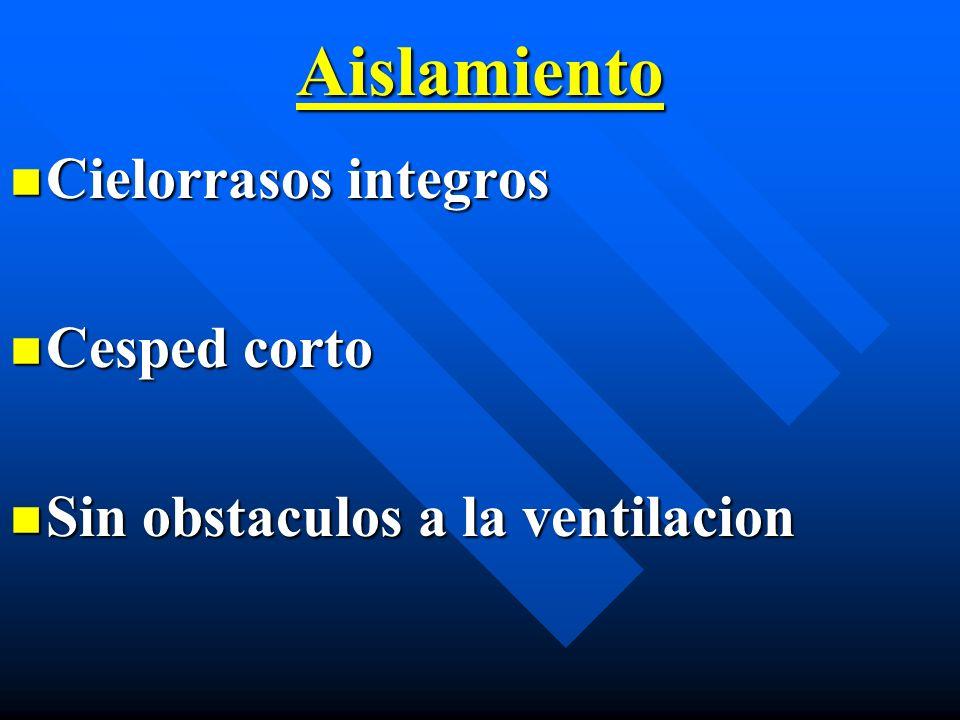 Aislamiento Cielorrasos integros Cielorrasos integros Cesped corto Cesped corto Sin obstaculos a la ventilacion Sin obstaculos a la ventilacion