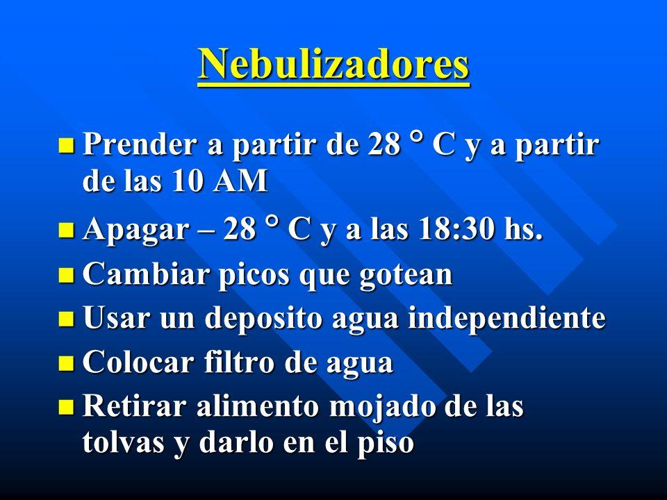 Nebulizadores Prender a partir de 28 ° C y a partir de las 10 AM Prender a partir de 28 ° C y a partir de las 10 AM Apagar – 28 ° C y a las 18:30 hs.