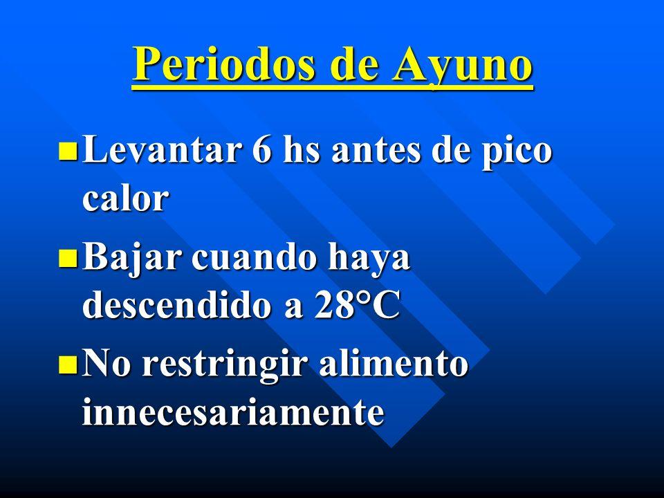 Periodos de Ayuno Levantar 6 hs antes de pico calor Levantar 6 hs antes de pico calor Bajar cuando haya descendido a 28°C Bajar cuando haya descendido
