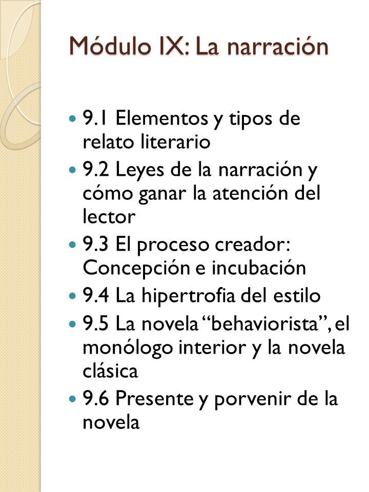 Módulo IX: La narración 9.1 Elementos y tipos de relato literario 9.2 Leyes de la narración y cómo ganar la atención del lector 9.3 El proceso creador