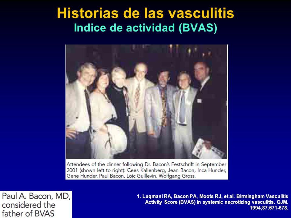 1. Luqmani RA, Bacon PA, Moots RJ, et al. Birmingham Vasculitis Activity Score (BVAS) in systemic necrotizing vasculitis. QJM. 1994;87:671-678. Histor