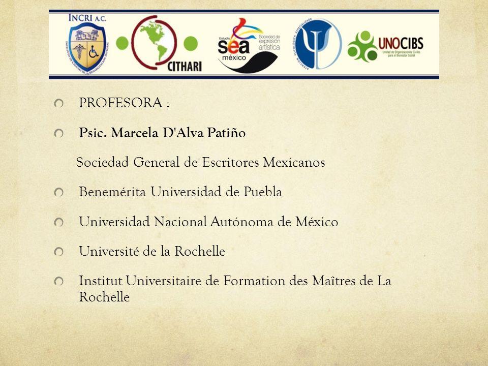 PROFESORA : Psic. Marcela D'Alva Patiño Sociedad General de Escritores Mexicanos Benemérita Universidad de Puebla Universidad Nacional Autónoma de Méx