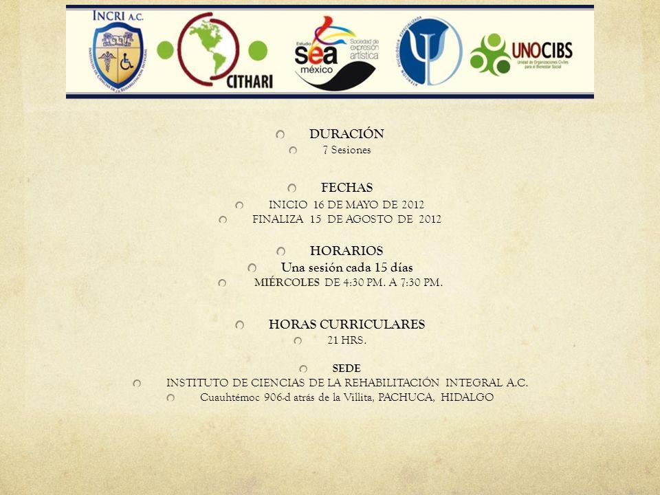 DURACIÓN 7 Sesiones FECHAS INICIO 16 DE MAYO DE 2012 FINALIZA 15 DE AGOSTO DE 2012 HORARIOS Una sesión cada 15 días MIÉRCOLES DE 4:30 PM. A 7:30 PM. H