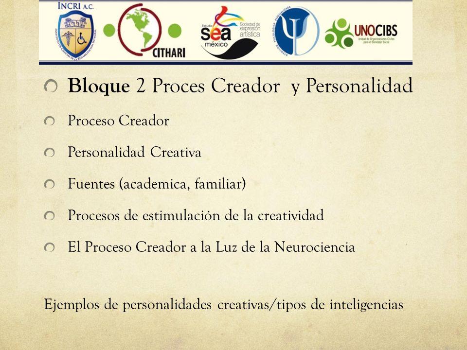 Bloque Bloque 2 Proces Creador y Personalidad Proceso Creador Personalidad Creativa Fuentes (academica, familiar) Procesos de estimulación de la creat