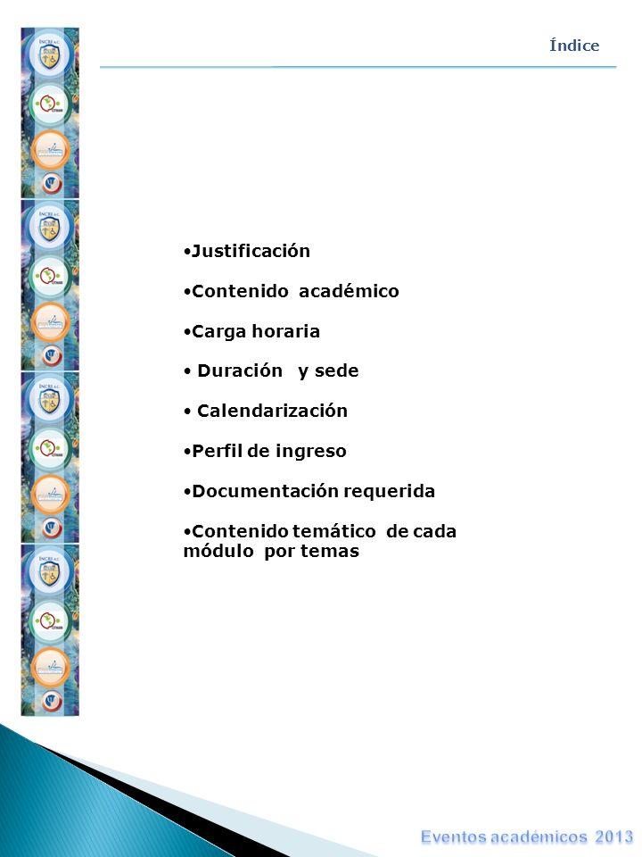 Índice Justificación Contenido académico Carga horaria Duración y sede Calendarización Perfil de ingreso Documentación requerida Contenido temático de