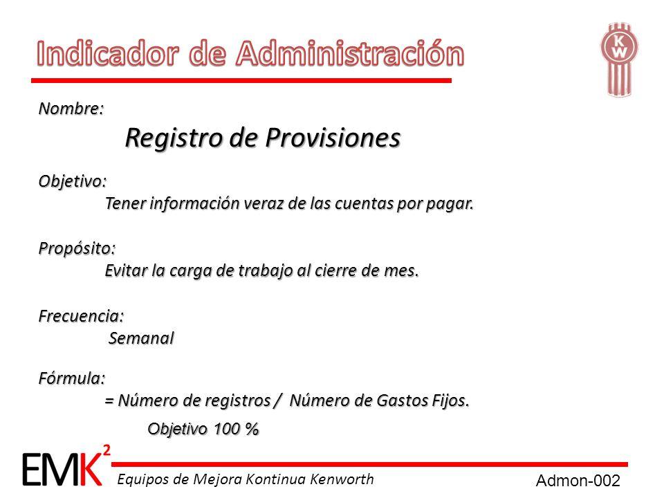 Equipos de Mejora Kontinua Kenworth Nombre: Registro de Provisiones Registro de Provisiones Objetivo: Tener información veraz de las cuentas por pagar