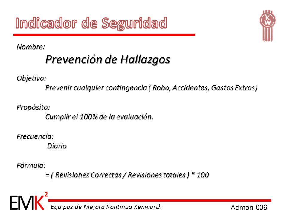 Equipos de Mejora Kontinua Kenworth Nombre: Prevención de Hallazgos Objetivo: Prevenir cualquier contingencia ( Robo, Accidentes, Gastos Extras) Propó