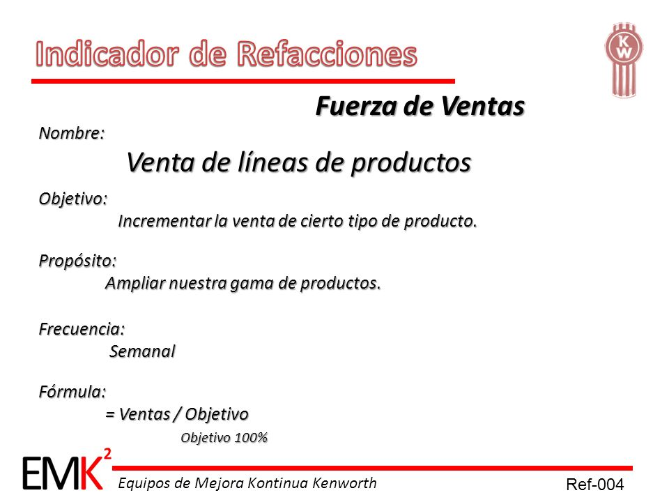 Equipos de Mejora Kontinua Kenworth Nombre: Venta de líneas de productos Venta de líneas de productos Objetivo: Incrementar la venta de cierto tipo de