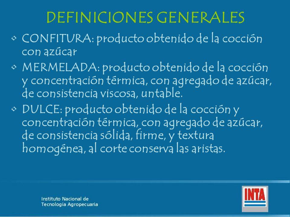 DEFINICIONES GENERALES CONFITURA: producto obtenido de la cocción con azúcar MERMELADA: producto obtenido de la cocción y concentración térmica, con a