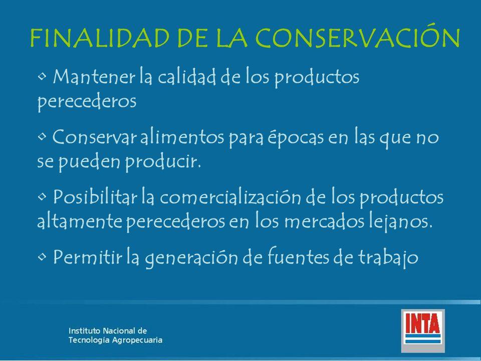 FINALIDAD DE LA CONSERVACIÓN Mantener la calidad de los productos perecederos Conservar alimentos para épocas en las que no se pueden producir. Posibi
