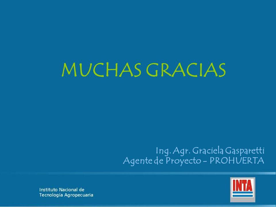 MUCHAS GRACIAS Ing. Agr. Graciela Gasparetti Agente de Proyecto - PROHUERTA