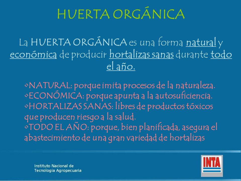 La HUERTA ORGÁNICA es una forma natural y económica de producir hortalizas sanas durante todo el año. HUERTA ORGÁNICA NATURAL: porque imita procesos d