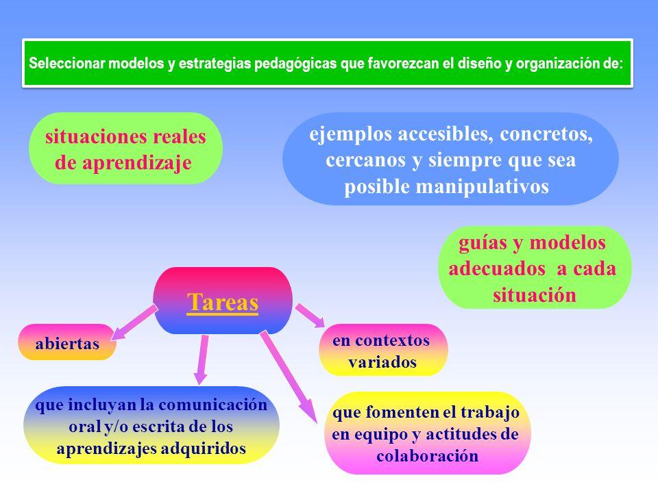 Tareas situaciones reales de aprendizaje Seleccionar modelos y estrategias pedagógicas que favorezcan el diseño y organización de: en contextos variad