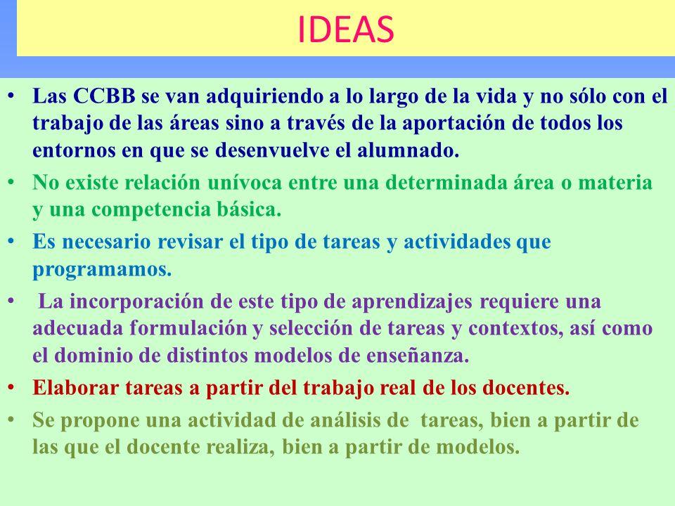 IDEAS Las CCBB se van adquiriendo a lo largo de la vida y no sólo con el trabajo de las áreas sino a través de la aportación de todos los entornos en