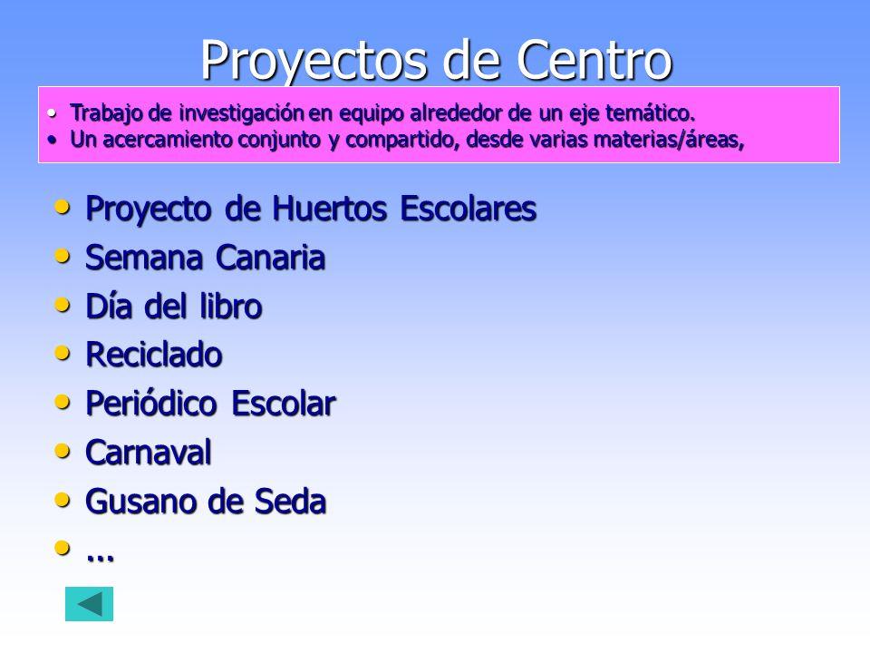 Proyectos de Centro Proyecto de Huertos Escolares Proyecto de Huertos Escolares Semana Canaria Semana Canaria Día del libro Día del libro Reciclado Re