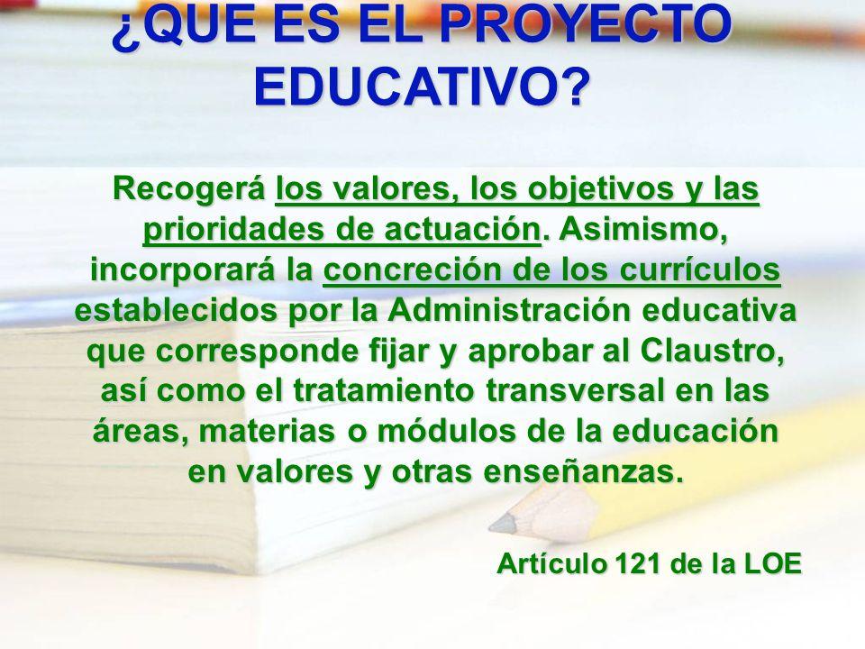 ¿QUE ES EL PROYECTO EDUCATIVO? Recogerá los valores, los objetivos y las prioridades de actuación. Asimismo, incorporará la concreción de los currícul