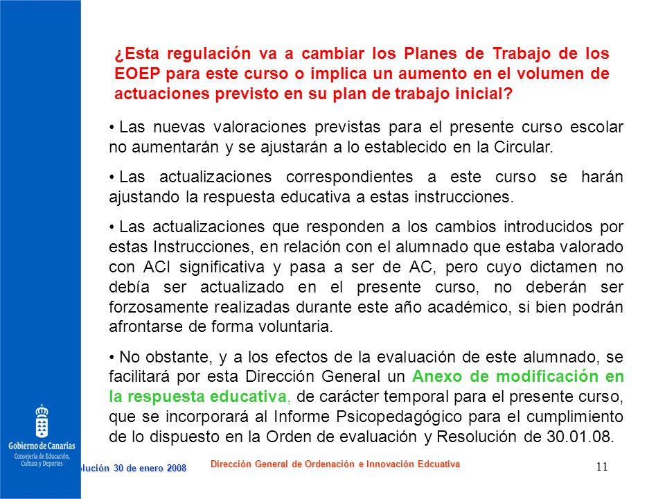 Resolución 30 de enero 2008 Resolución 30 de enero 2008 Dirección General de Ordenación e Innovación Edcuativa 11 ¿Esta regulación va a cambiar los Pl