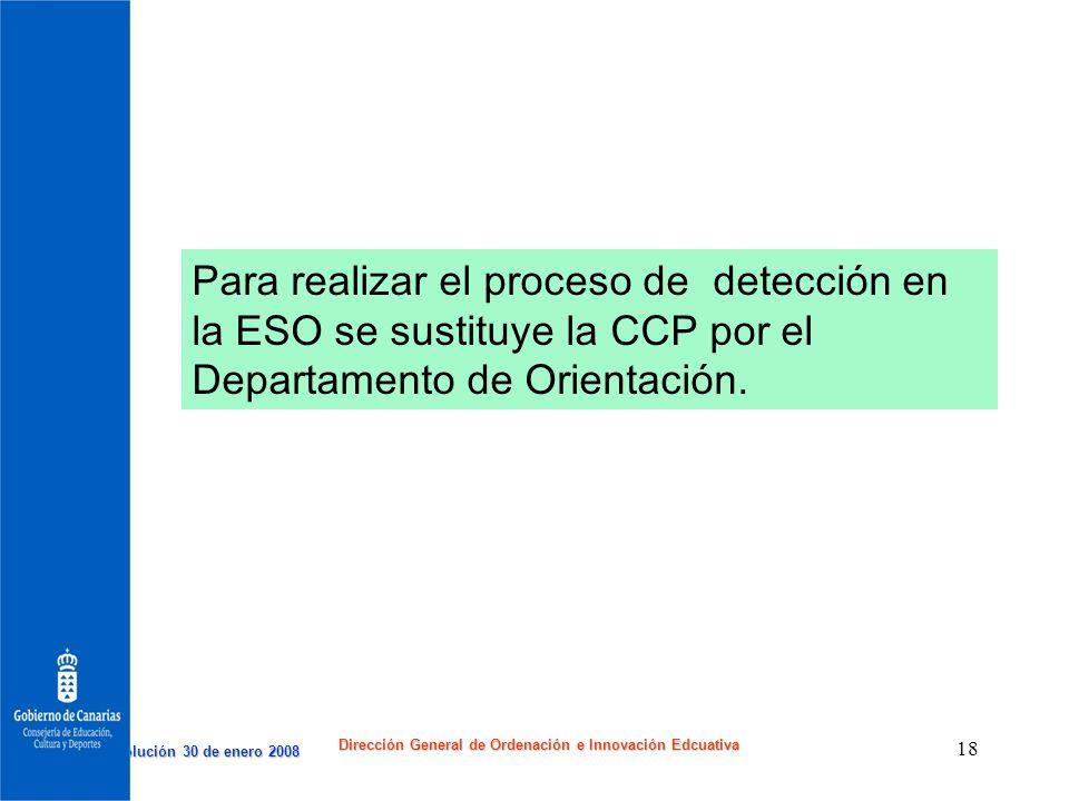 Resolución 30 de enero 2008 Resolución 30 de enero 2008 Dirección General de Ordenación e Innovación Edcuativa 18 Para realizar el proceso de detecció