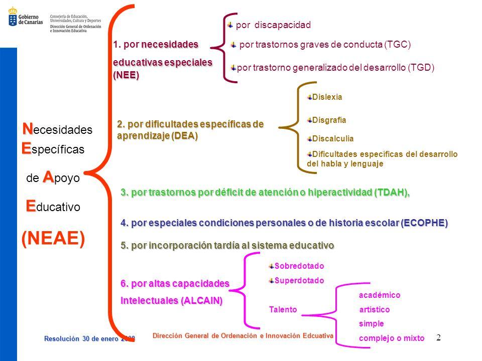 Resolución 30 de enero 2008 Resolución 30 de enero 2008 Dirección General de Ordenación e Innovación Edcuativa 2 N E N ecesidades E specíficas A de A