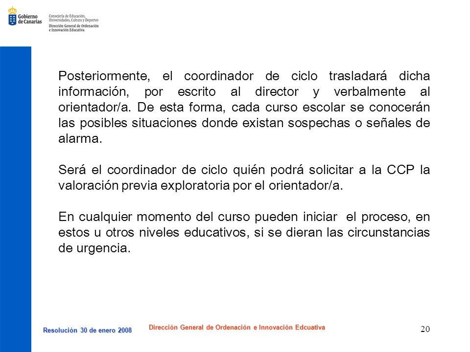 Resolución 30 de enero 2008 Resolución 30 de enero 2008 Dirección General de Ordenación e Innovación Edcuativa 20 Posteriormente, el coordinador de ci