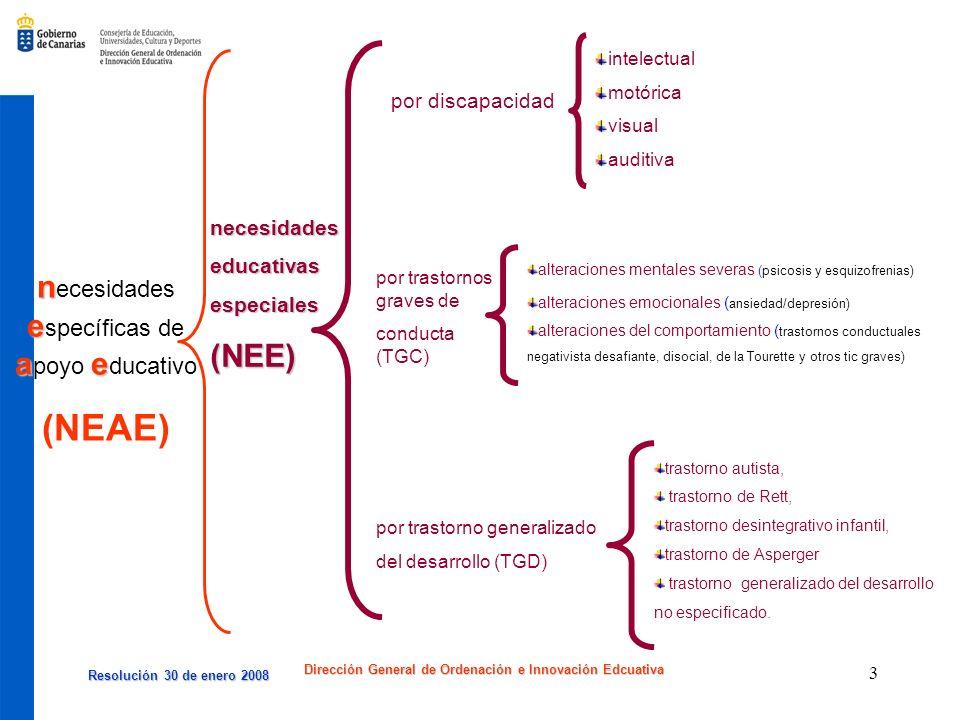 Resolución 30 de enero 2008 Resolución 30 de enero 2008 Dirección General de Ordenación e Innovación Edcuativa 3 n e ae n ecesidades e specíficas de a