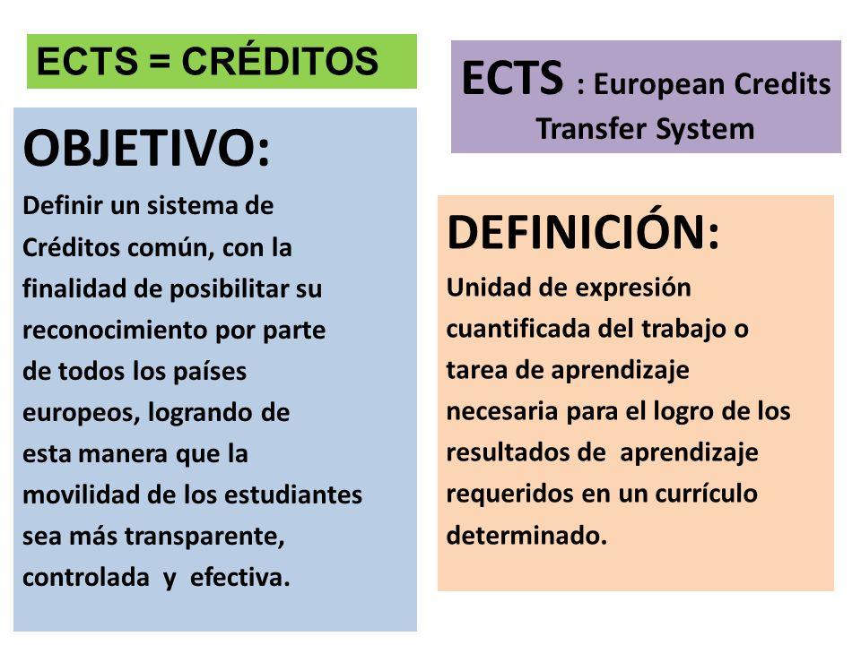 OBJETIVO: Definir un sistema de Créditos común, con la finalidad de posibilitar su reconocimiento por parte de todos los países europeos, logrando de