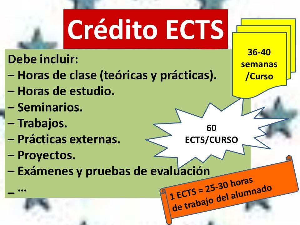 Crédito ECTS Debe incluir: – Horas de clase (teóricas y prácticas). – Horas de estudio. – Seminarios. – Trabajos. – Prácticas externas. – Proyectos. –