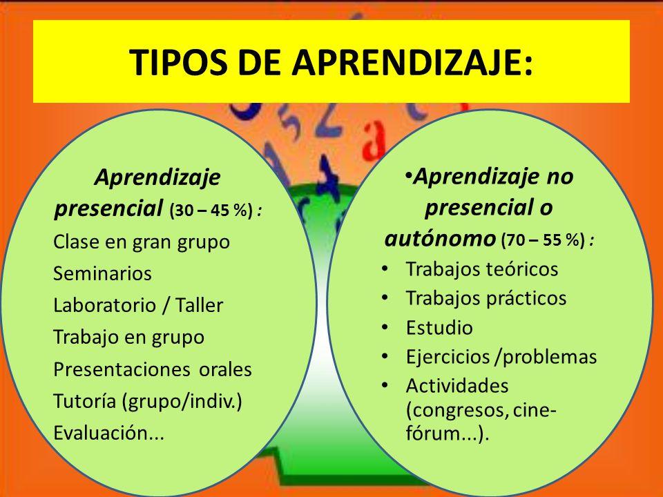 TIPOS DE APRENDIZAJE: Aprendizaje presencial (30 – 45 %) : Clase en gran grupo Seminarios Laboratorio / Taller Trabajo en grupo Presentaciones orales