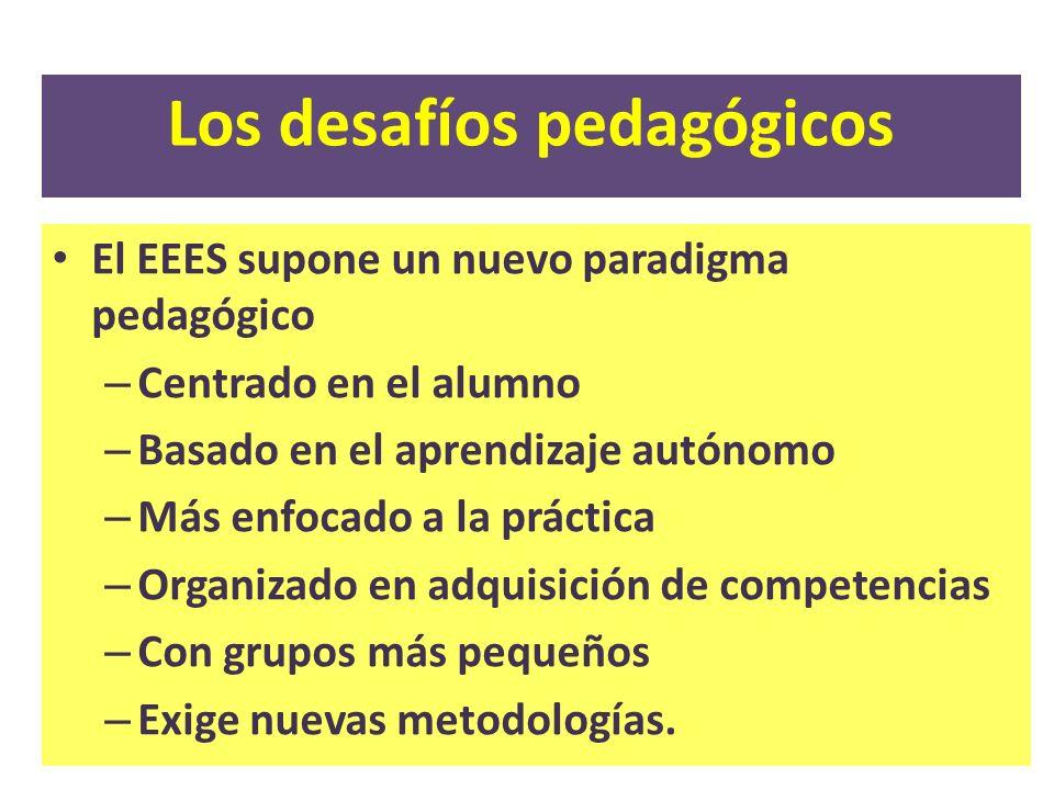 Los desafíos pedagógicos El EEES supone un nuevo paradigma pedagógico – Centrado en el alumno – Basado en el aprendizaje autónomo – Más enfocado a la