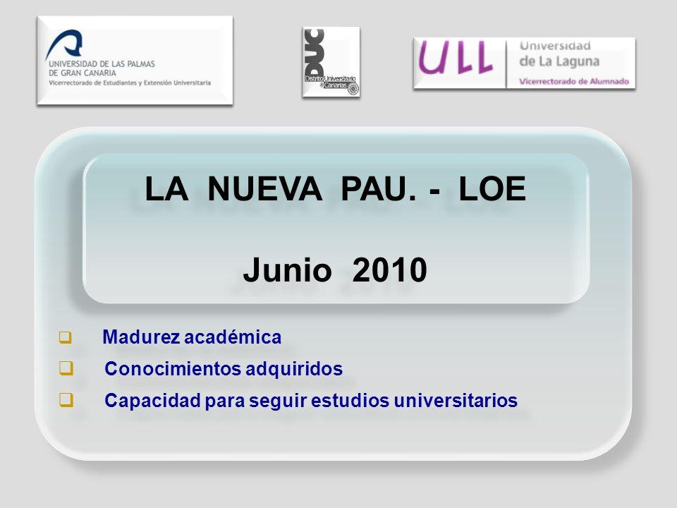 Madurez académica Conocimientos adquiridos Capacidad para seguir estudios universitarios Madurez académica Conocimientos adquiridos Capacidad para seguir estudios universitarios LA NUEVA PAU.