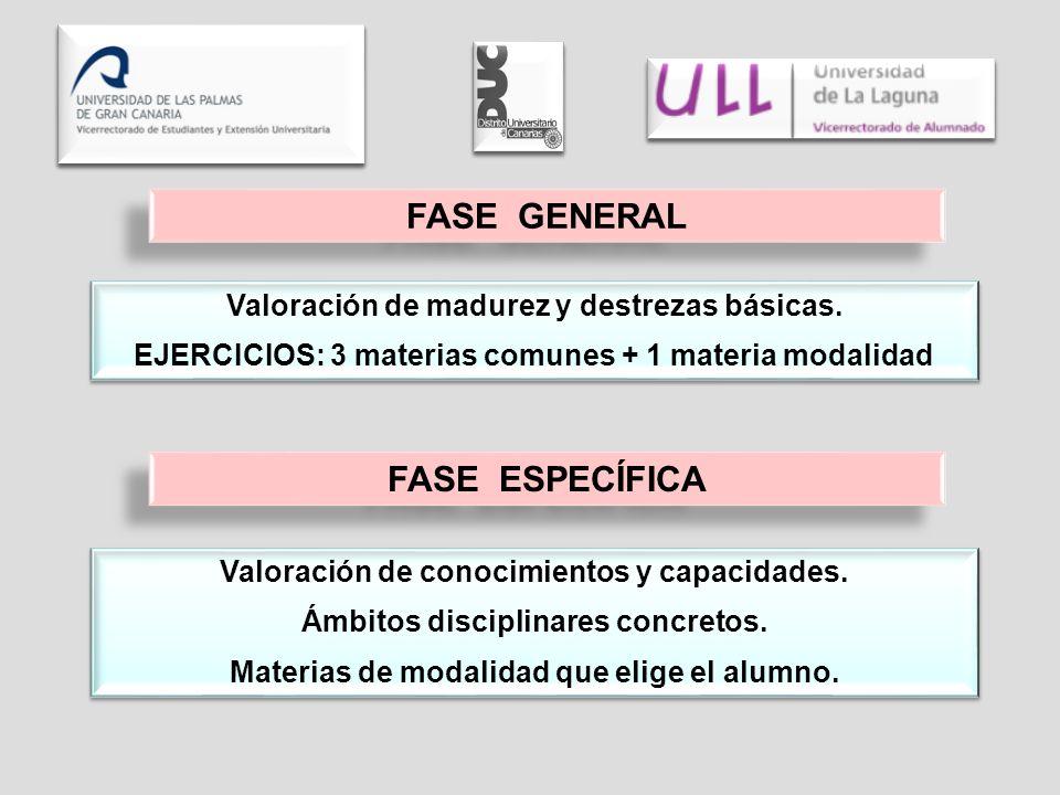Valoración de madurez y destrezas básicas. EJERCICIOS: 3 materias comunes + 1 materia modalidad Valoración de madurez y destrezas básicas. EJERCICIOS: