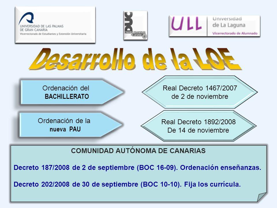 Real Decreto 1892/2008 De 14 de noviembre Ordenación de la nueva PAU Ordenación de la nueva PAU Real Decreto 1467/2007 de 2 de noviembre Ordenación de